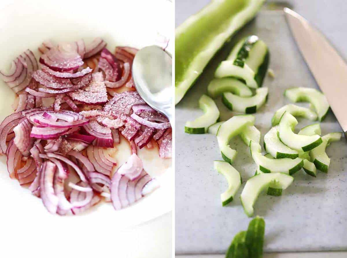 Macerated red onions and sliced cucumbers