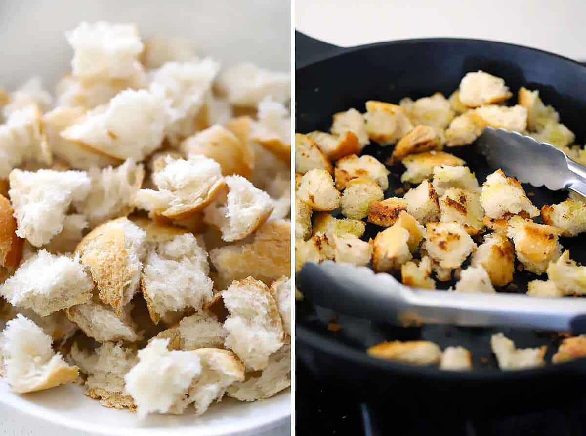 How to toast bread for panzanella or croutons in a skillet with olive oil