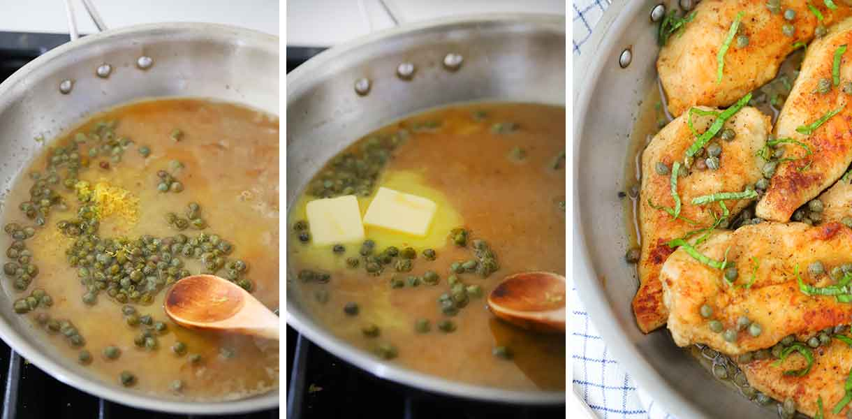 How to make lemon butter caper sauce for piccata.