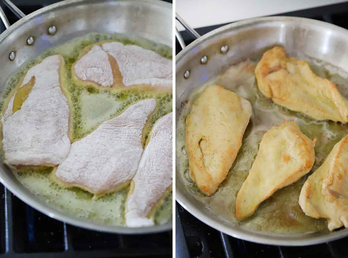 How to cook chicken breast cutlets dredged in flour.