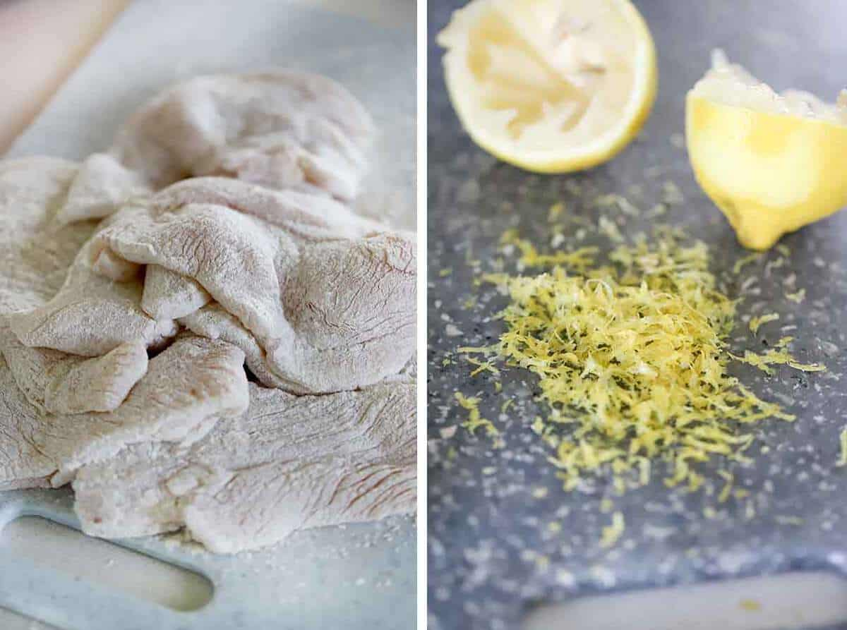 Chicken breast cutlets dredged in flour and a zested lemon.