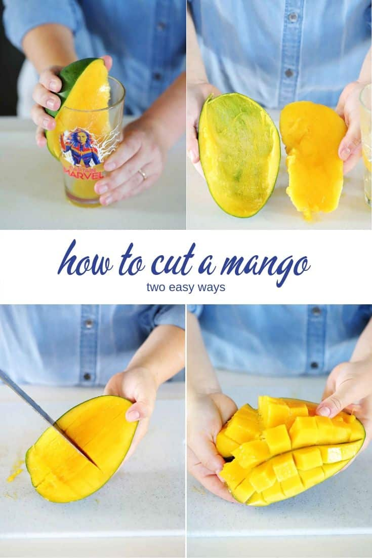A collage showing two ways for how to cut and peel a mango.