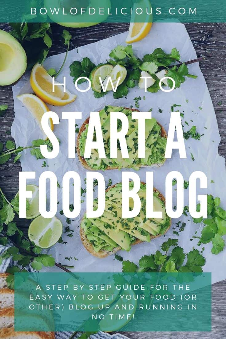 A graphic for how to start a food blog with avocado toast in the background.