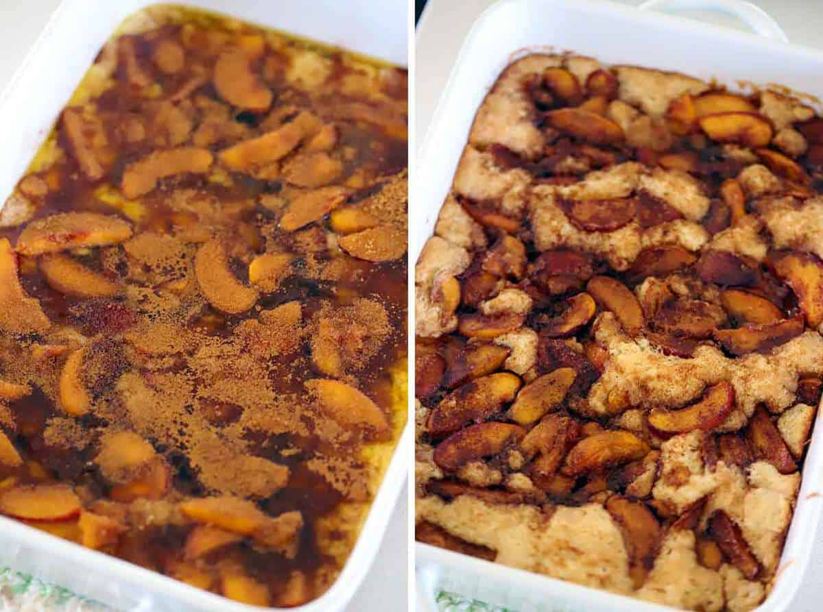 Peach cobbler before and after baking.