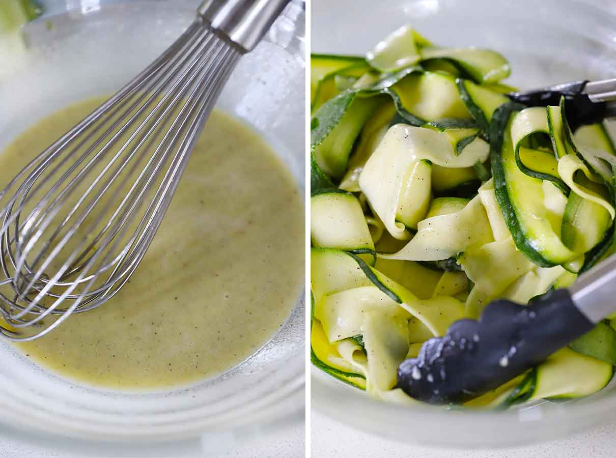 Whisking a creamy lemony dressing and tossing it with zucchini ribbons.