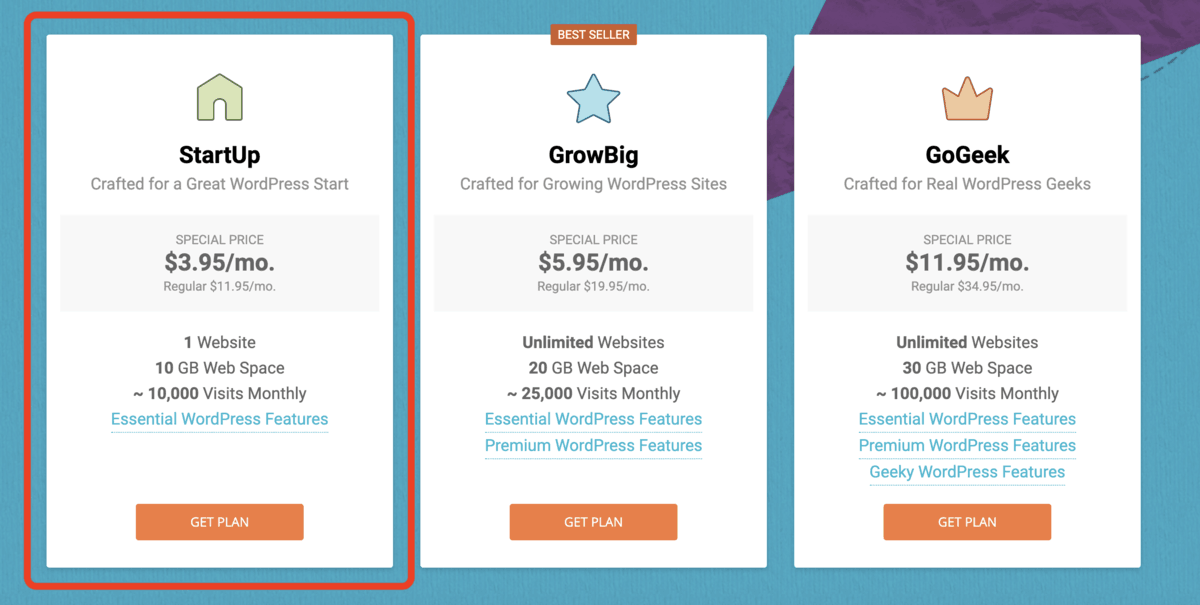 Selecting the startup wordpress hosting plan on siteground