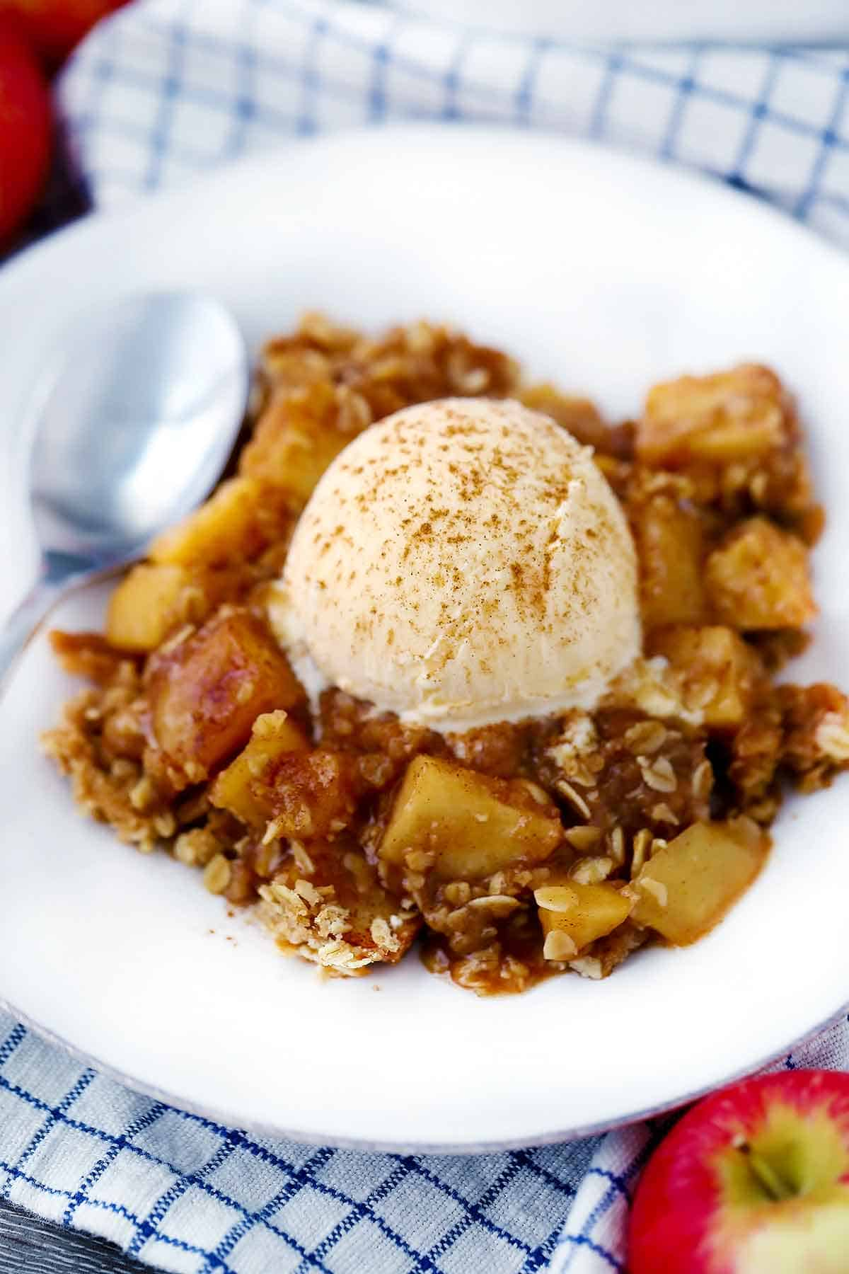 A white plate with apple crisp, vanilla ice cream, and cinnamon.