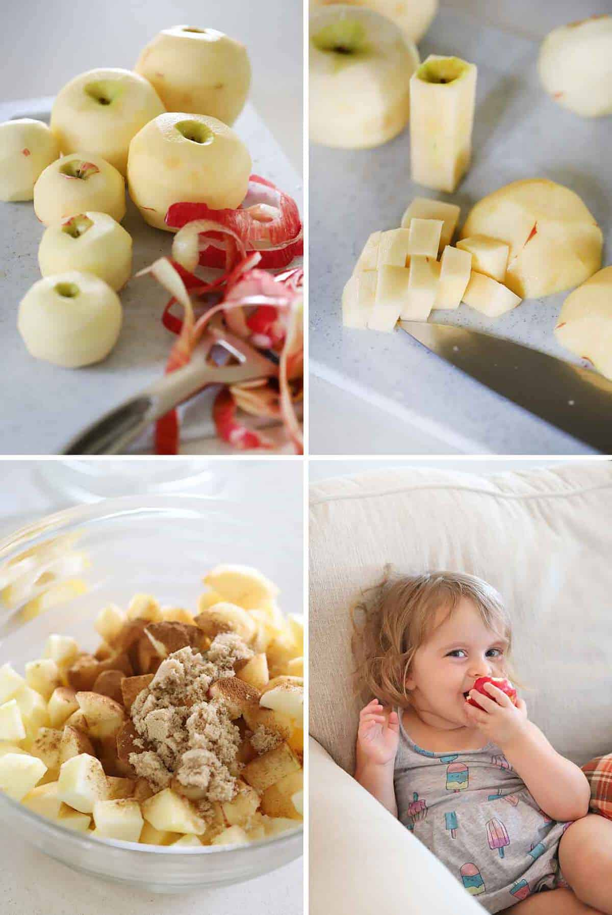 Peeled and diced apples mixed in a bowl with cinnamon and brown sugar and a child eating an apple on a couch.