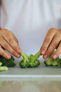 Pulling apart a floret of broccoli.