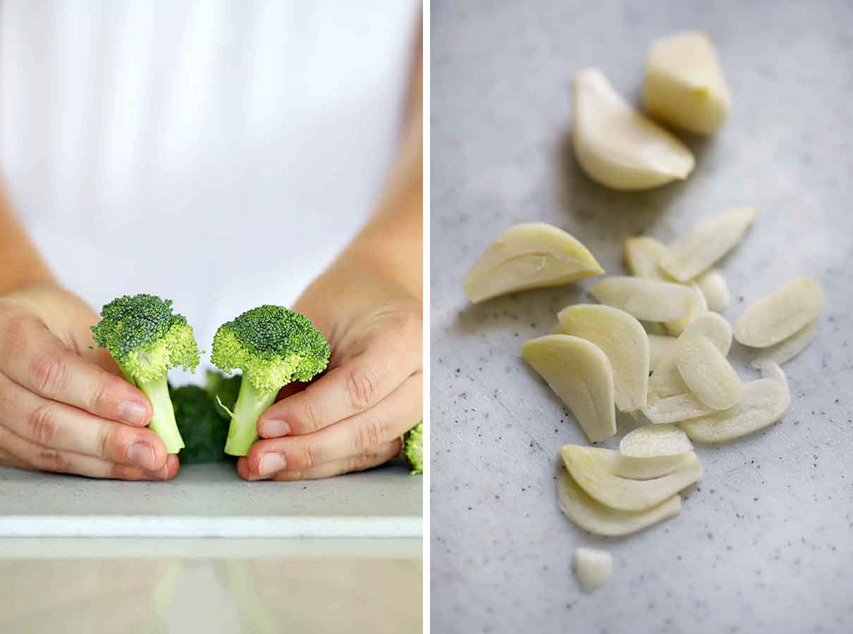 Broccoli florets with their stems and thinly sliced garlic