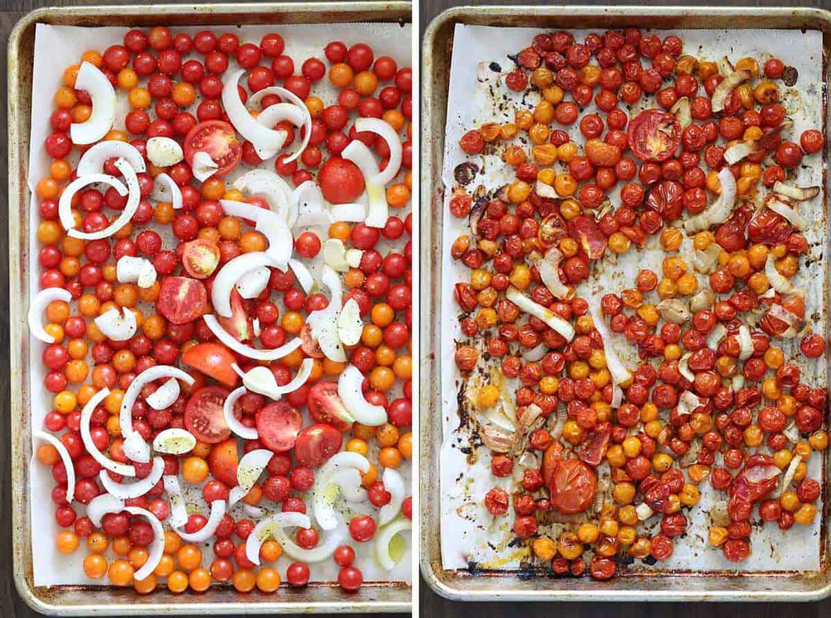 Roasted tomatoes, onions, and garlic on a sheet pan