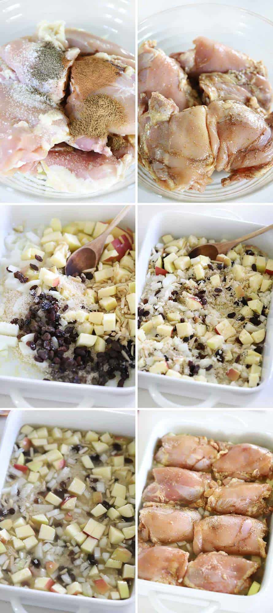 A photo collage showing the process of making spiced chicken and rice in a baking dish.