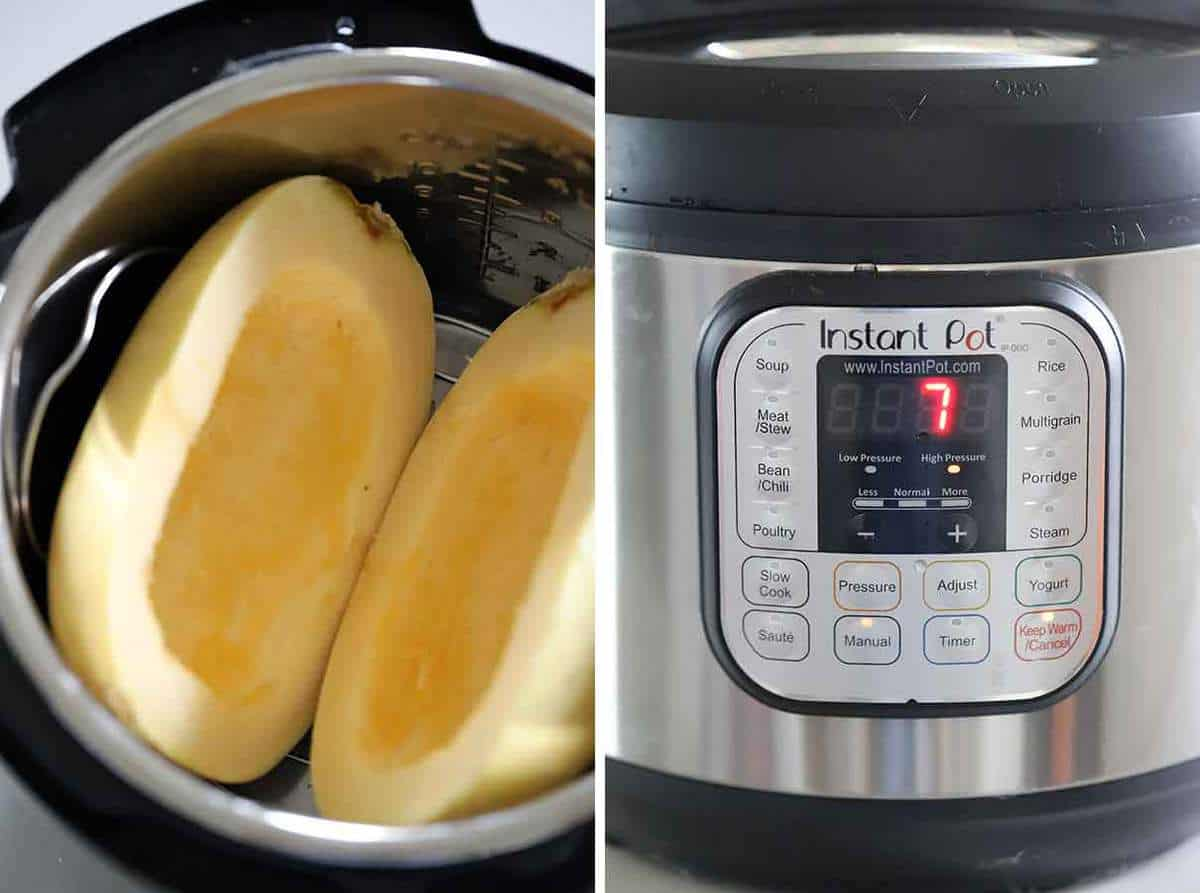 A spaghetti squash cut in half in an instant pot, display showing 7 minute cook time.
