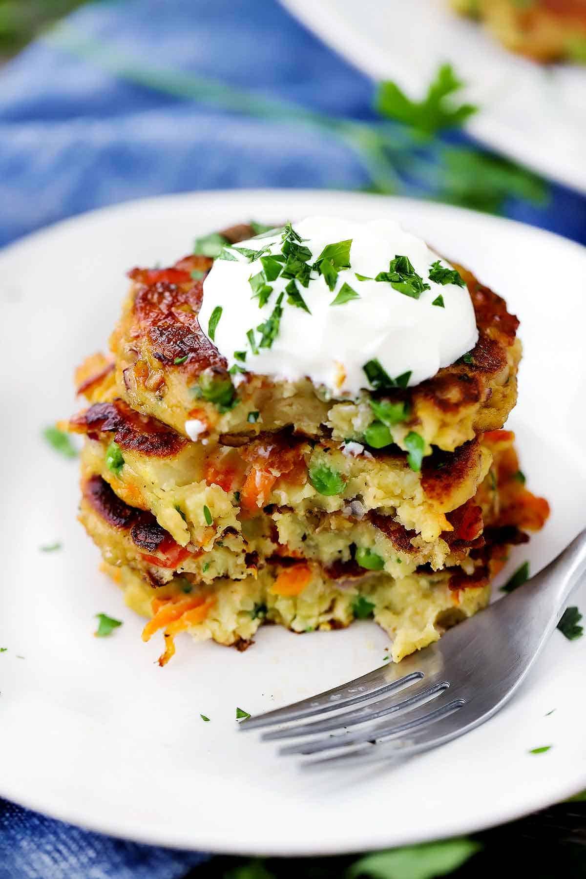 Leftover Mashed Potato Cakes (veggie-packed!) - Bowl of Delicious