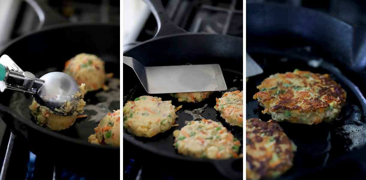 How to fry mashed potato cakes in butter.