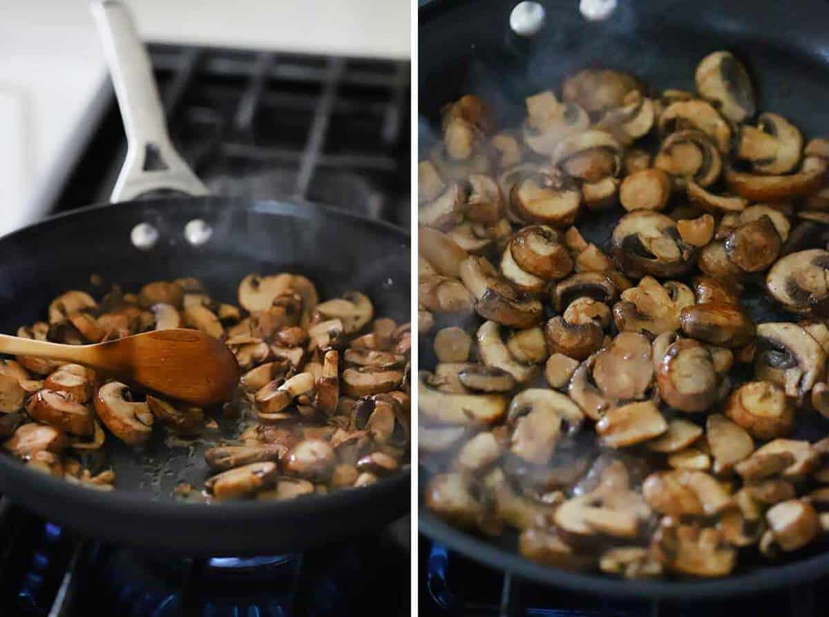 How to brown mushrooms in a skillet.