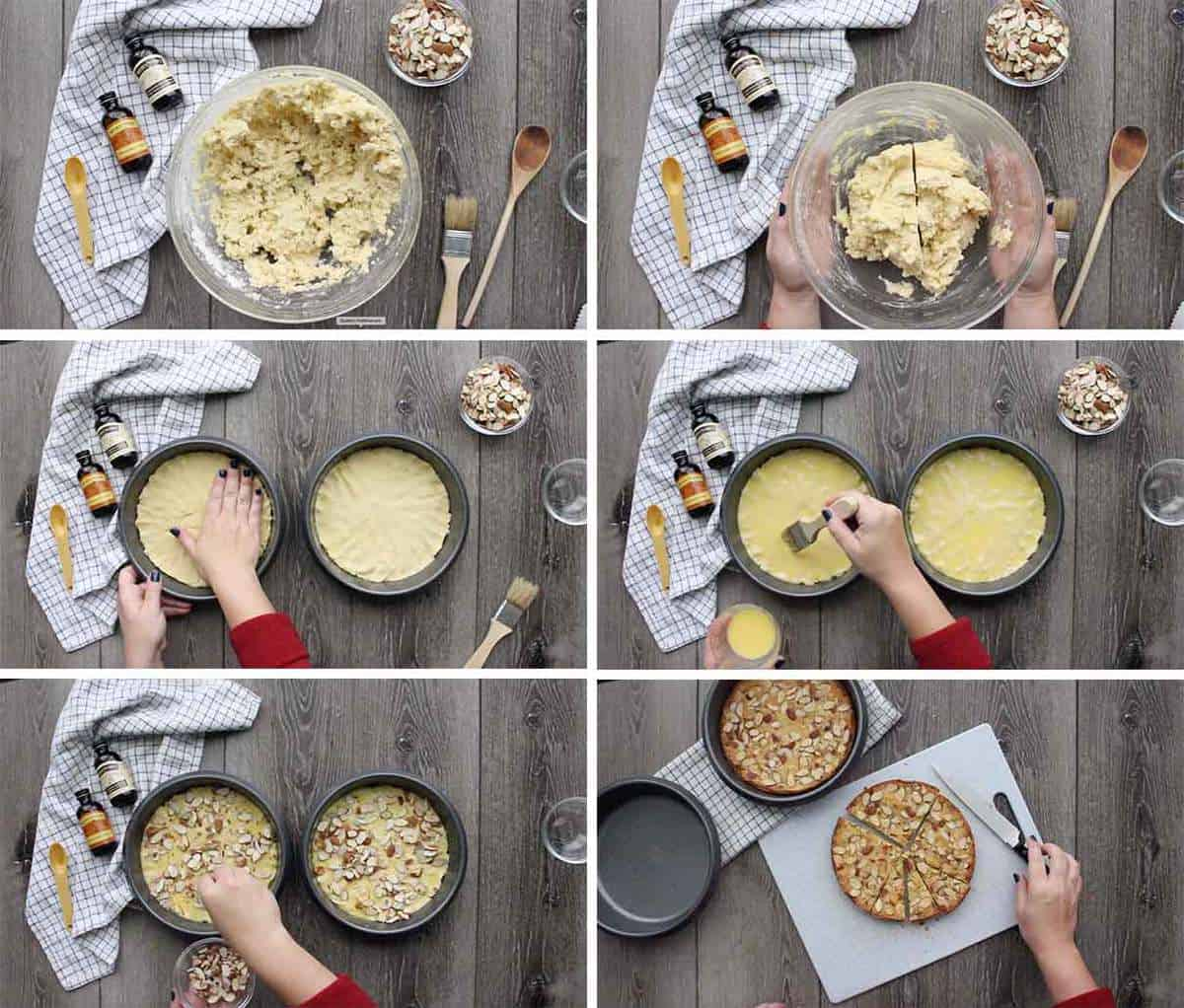 A photo collage showing the steps to make Dutch butter cake.