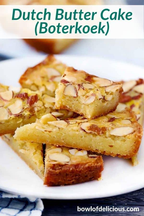 pinterest image for Dutch Butter Cake (Boterkoek)