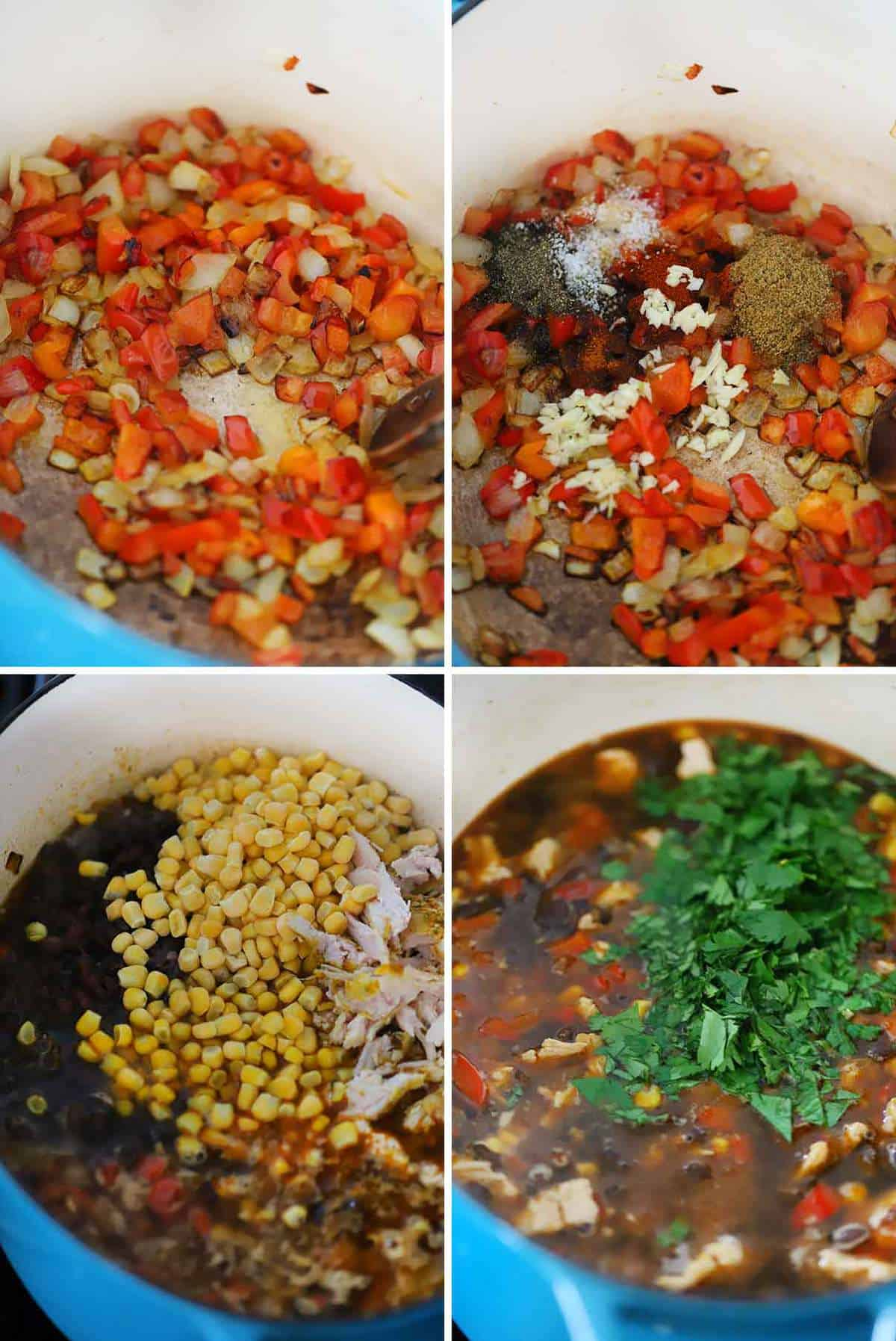 How to make leftover turkey soup with black beans and corn.