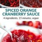 pinterest image for spiced orange cranberry sauce