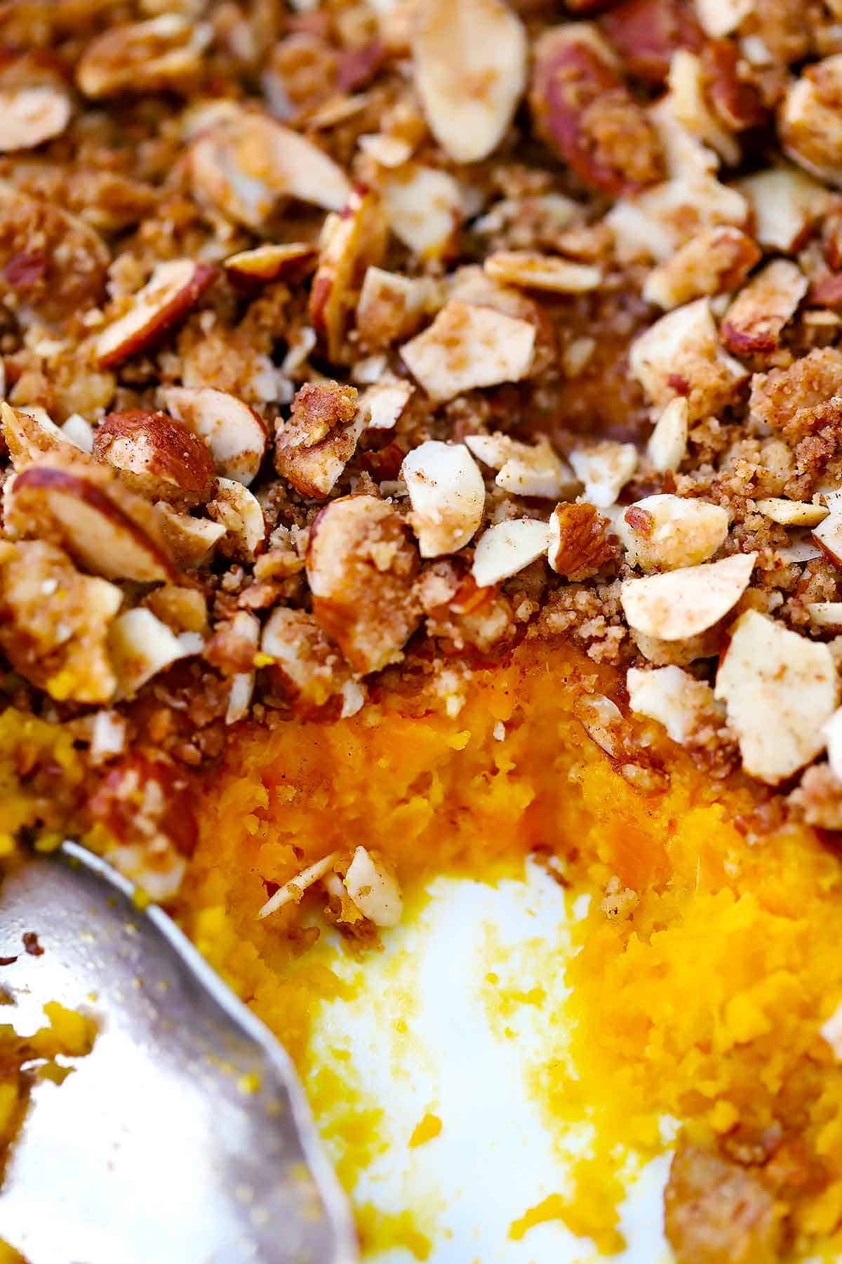 Sweet Potato Casserole With Almond Streusel Topping Bowl Of