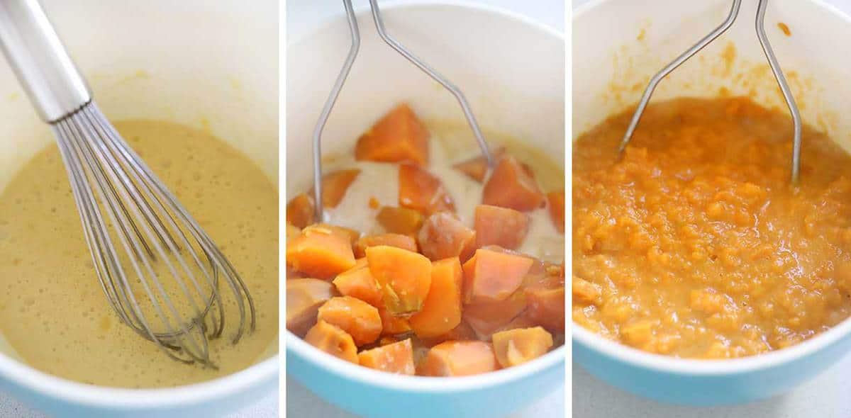 Mashing sweet potatoes for filling of casserole.