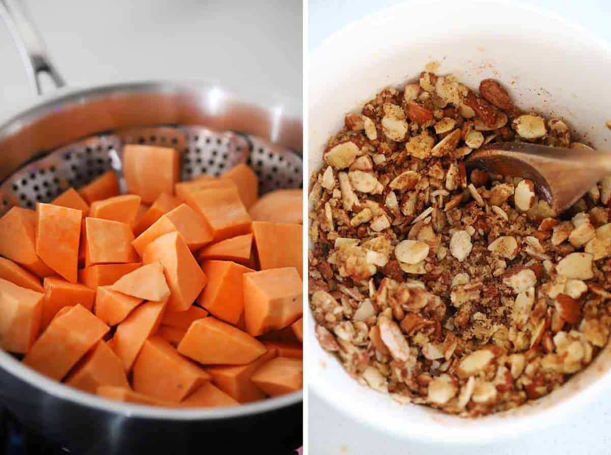 Steaming sweet potatoes and mixing a streusel topping with sliced almonds.