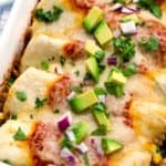 Close up photo of turkey and black bean enchiladas with diced avocado and red onion on top.
