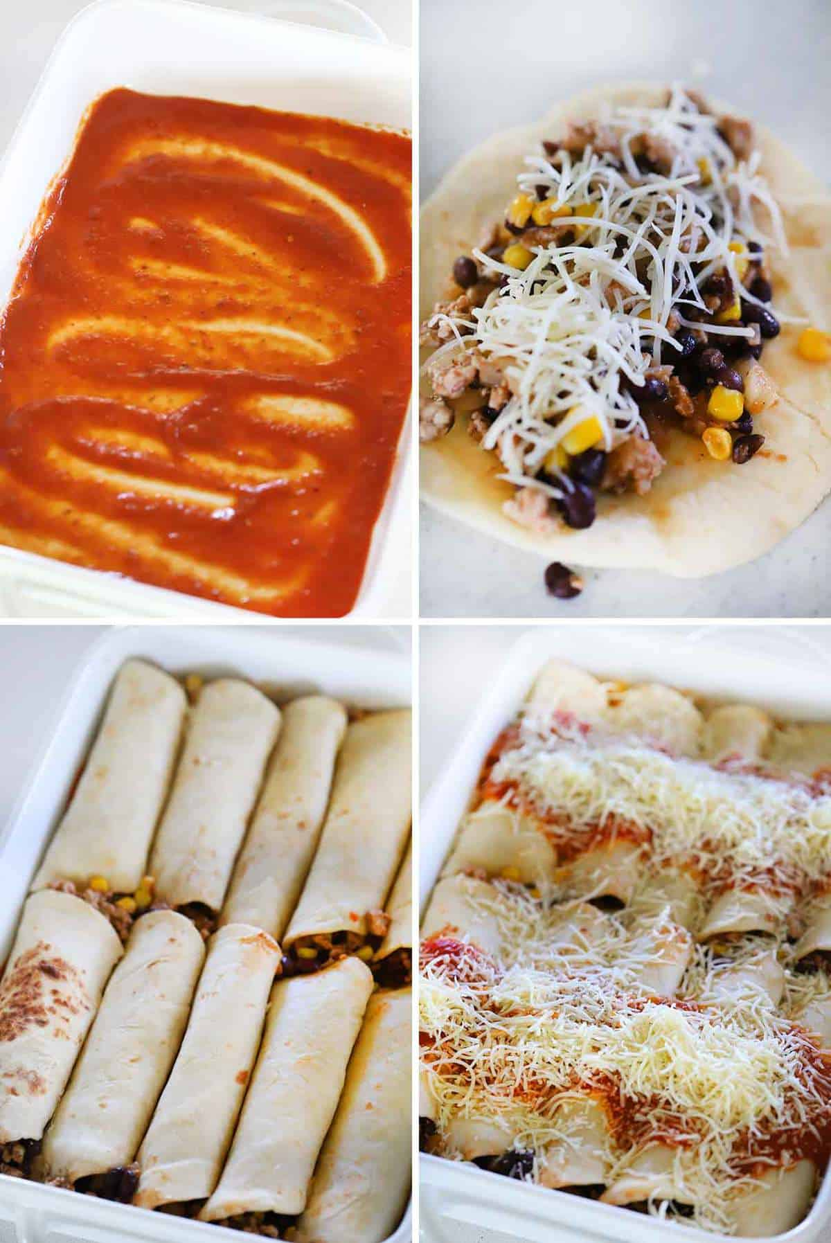 How to assemble turkey enchiladas.