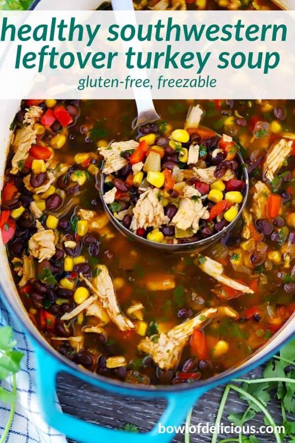 Pinterest image for leftover turkey soup.