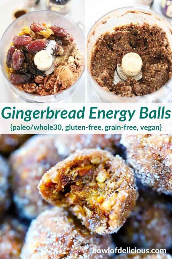 Pinterest collage for gingerbread energy balls