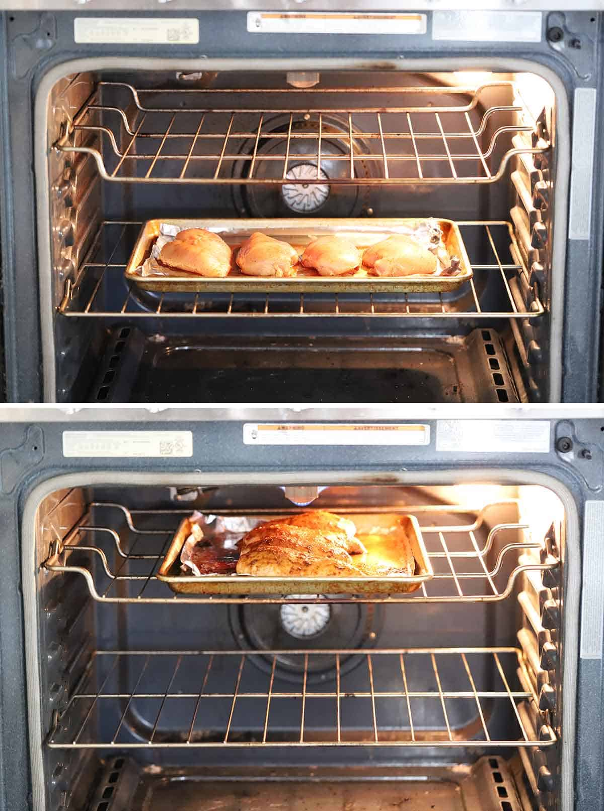Process collage showing baking chicken breasts first then broiling them.