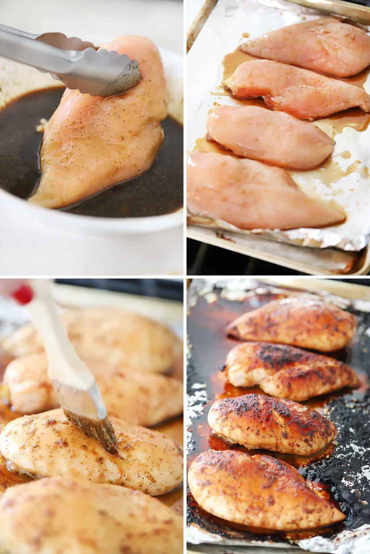 Process collage for how to make honey soy chicken breasts.