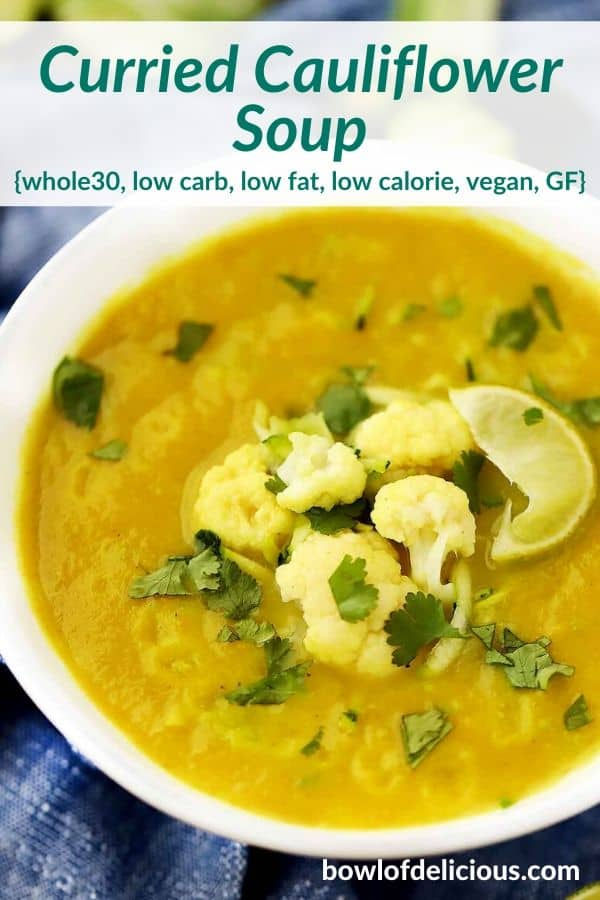 pinterest image for curried cauliflower soup