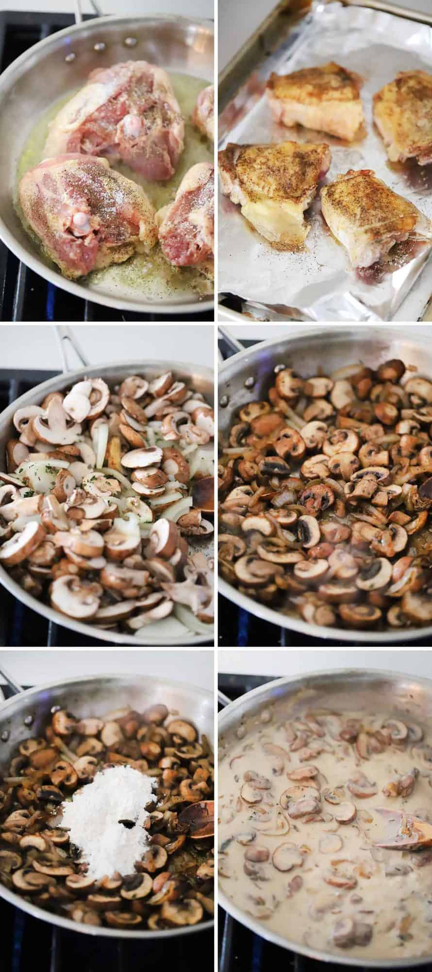Photo collage showing how to make chicken thighs in mushroom sauce.
