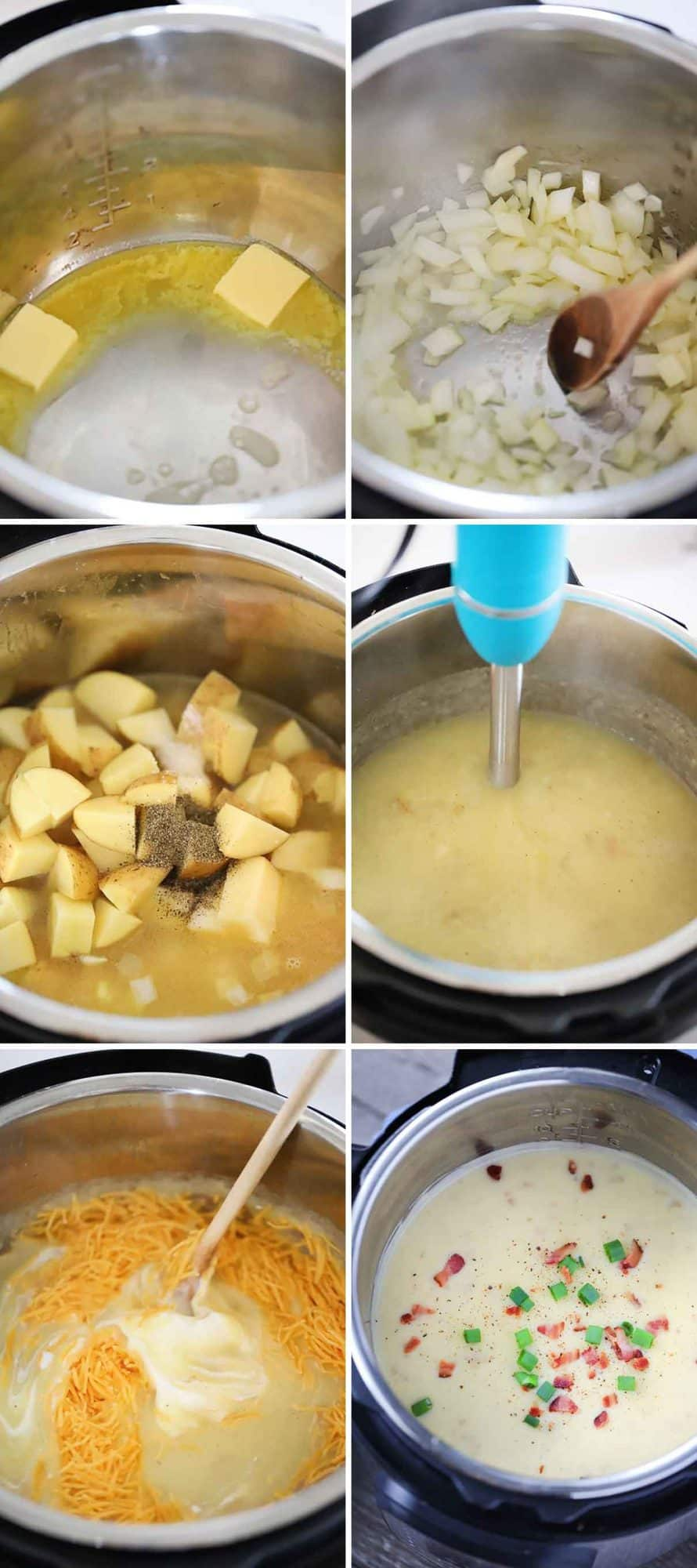Process collage showing how to make potato soup in your pressure cooker.