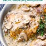 Pinterest image for creamy chicken and mushrooms.