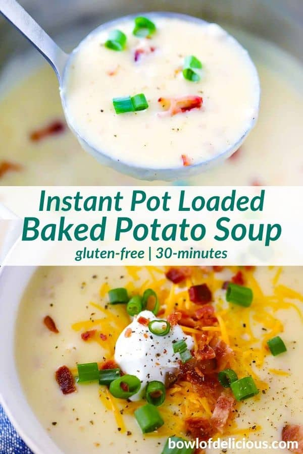 pinterest image for baked potato soup