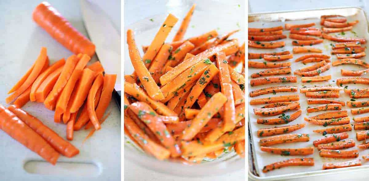 How to cut carrots for fries and mix them with spices to bake on a baking sheet.