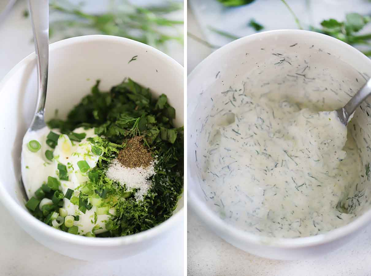 How to mix the ingredients to make creamy dill dip.