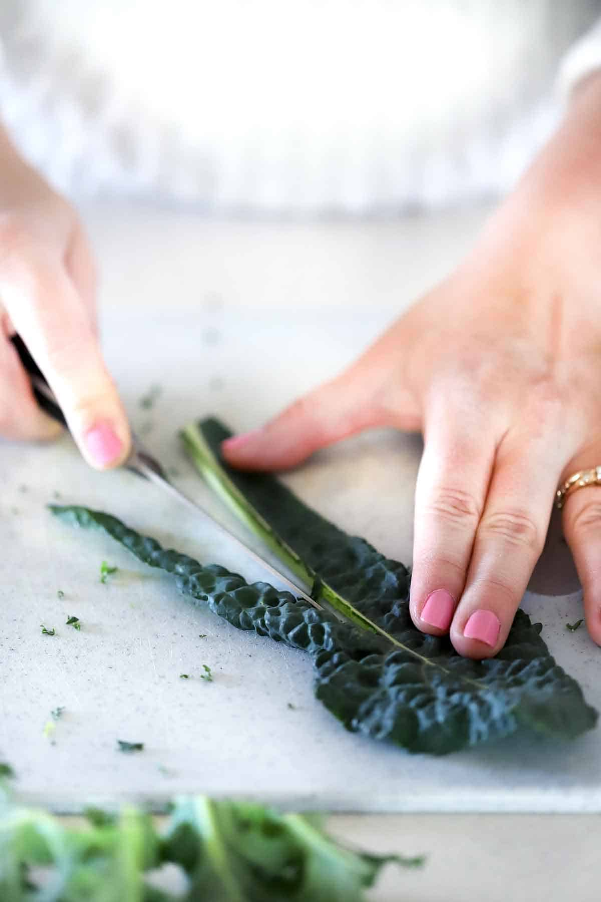 How to remove the stem from Tuscan kale.