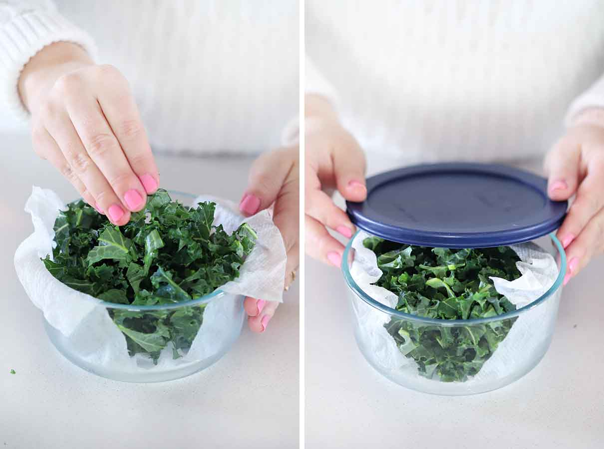 Storing kale in a paper towel lined airtight container.
