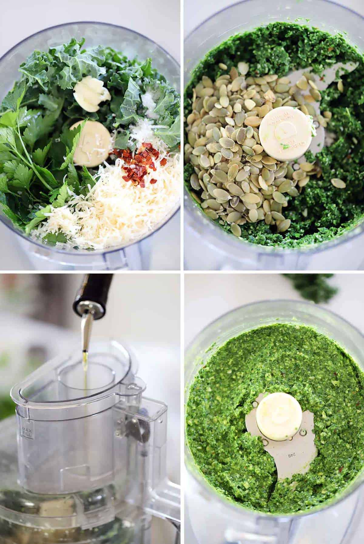 How to make kale pesto in a food processor photo collage.