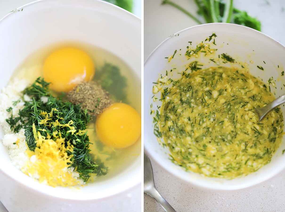 mixing eggs, dill, feta, and lemon zest for carbonara base for spanakopita pasta