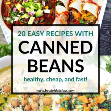 Pinterest image for easy canned bean recipes.