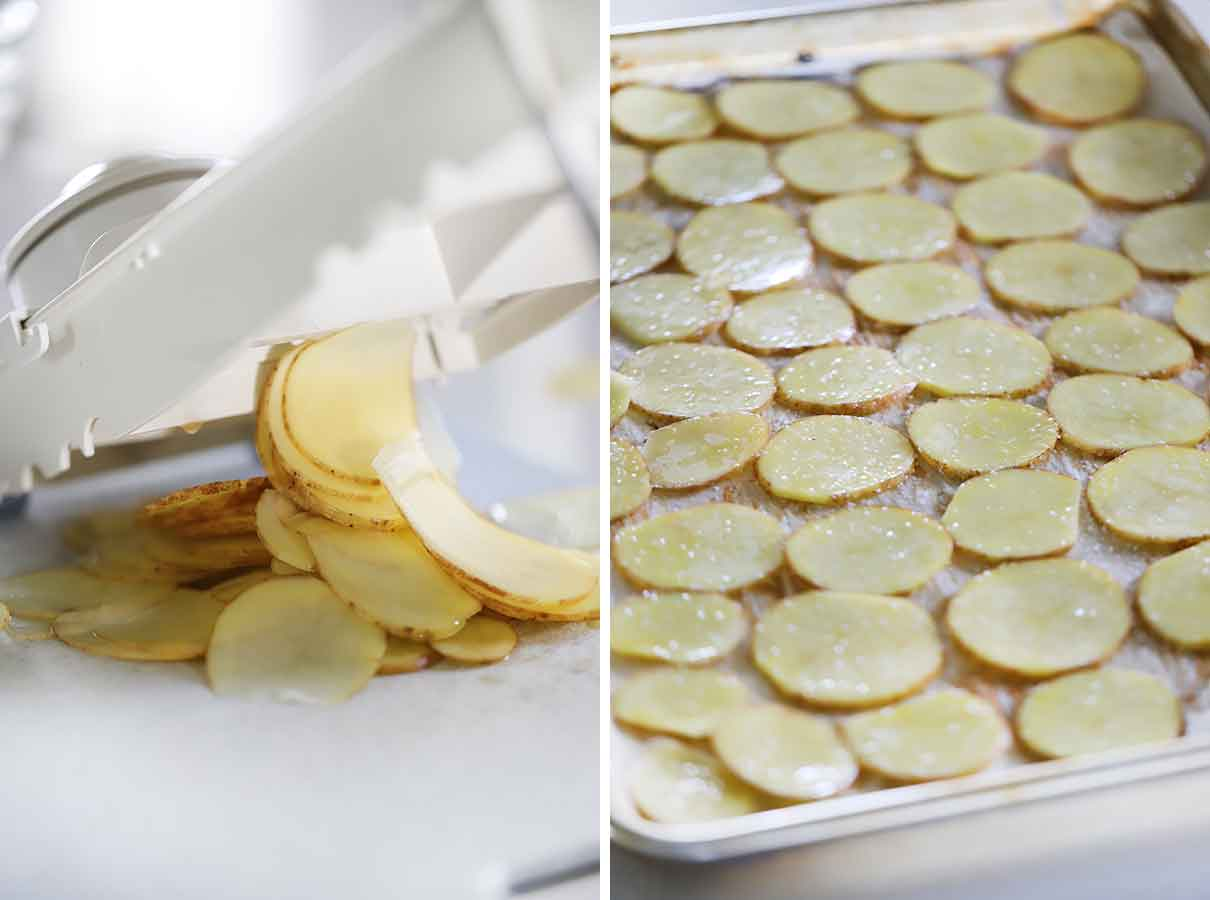 Slicing potatoes with a mandoline and placing on a baking sheet for homemade potato chips.
