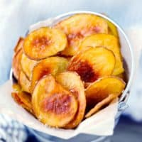 Square image of homemade potato chips.