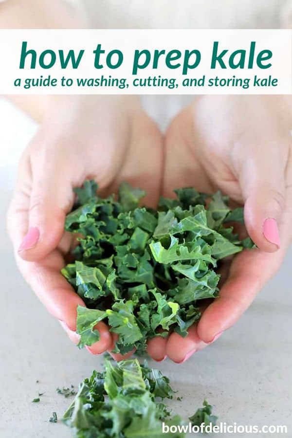 pinterest image for how to prep kale.