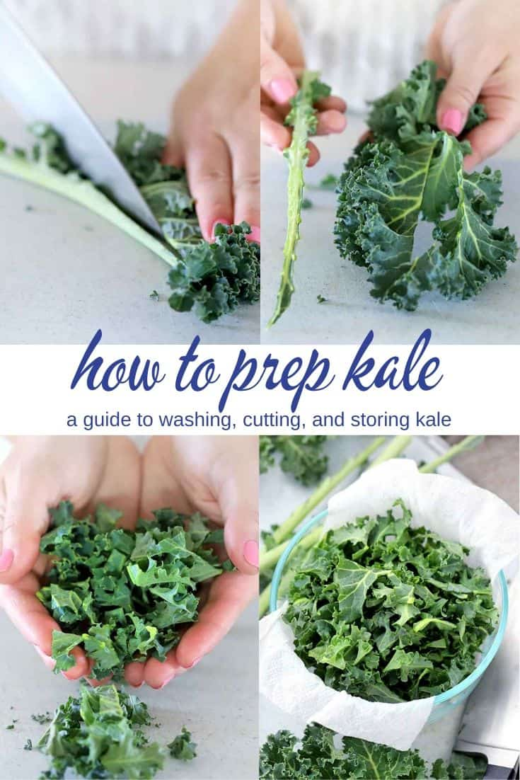 Photo collage showing how to prep kale.
