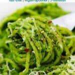 Pinterest image for kale pesto.